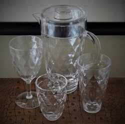 Diamond Cut Acrylic Glassware & Pitchers