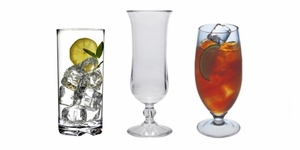 Hurricane, Daiquiri,  Cocktail  and Iced Tea Glasses