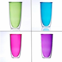 Keep-Kool 20 Oz. Acrylic Double Wall Insulated Set of 4 Colored Tall Cups