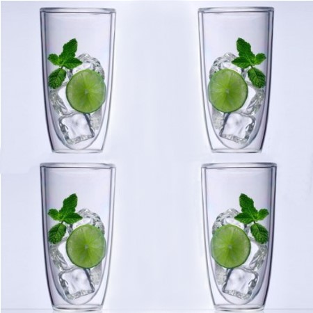 Keep-Kool Double Wall Insulated Clear Tall Tumblers (Set of 4)