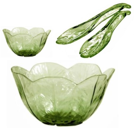 Lettuce Leaf Green Salad Bowls & Servers