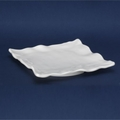 QSQuared Ruffle White Square Melamine Platter - 14 In.