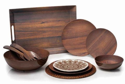 Rosewood-Look Melamine Dinnerware and Serveware
