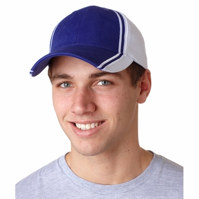 Adams Headwear Cap: Collegiate 6-Panel Two-Toned Striped  (CG102)