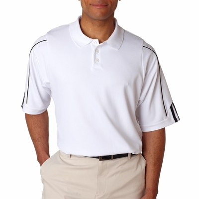 adidas Men's Polo Shirt: Climalite 3 Stripe Cuff Pique (A76)