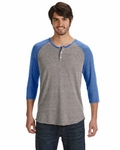 Alternative Men's Eco-Jersey 3/4-Sleeve Raglan Henley: (AA1989)