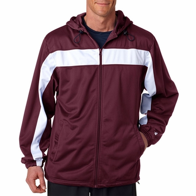 Badger Sport Men's Jacket: 100% Polyester Brushed Tricot Color Block Hooded Full-Zip with Pockets (7705)