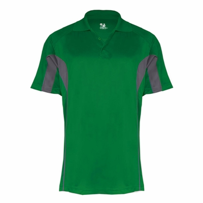 Badger Sport Men's Polo Shirt: Performance Drive Color Block 3-Button (B3346)