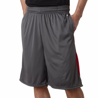 Badger Sport Men's Shorts: 100% Polyester Performance Drive Color Block 9-Inch with Pockets (4117)