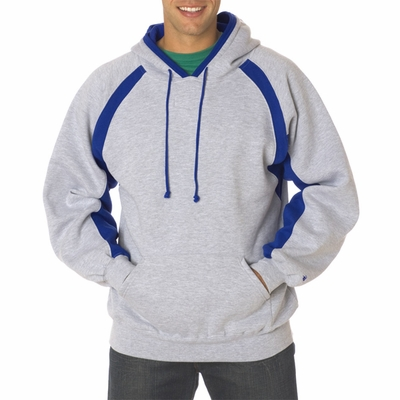 Badger Sport Men's Sweatshirt: Cotton Blend Fleece Color Block  Hook Hooded  (1262)