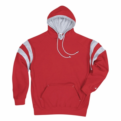 Badger Sport Men's Sweatshirt: Cotton Blend Performance Varsity Stripe Hooded (1263)