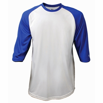 Badger Sport Men's T-Shirt: 100% Polyester B-Baseball Contrast 3/4-Sleeve Raglan (4133)