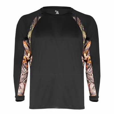 Badger Sport Men's T-Shirt: 100% Polyester Performance Hook Contrast Long Sleeve (4154)