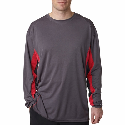 Badger Sport Men's T-Shirt: 100% Polyester Performance Drive Color Block Long Sleeve with Piping (4157)