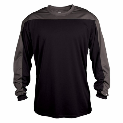 Badger Sport Men's T-Shirt: 100% Polyester Contrast Long Sleeve (4159)