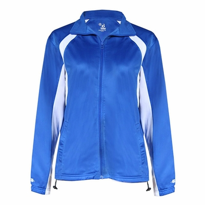 Badger Sport Women's Jacket: 100% Polyester Brushed Tricot Two-Toned Hook Full-Zip with Pockets  (7902)