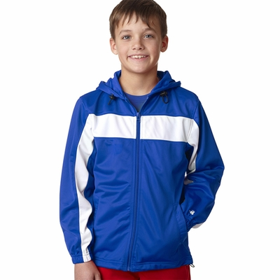 Badger Sport Youth Jacket: 100% Polyester Brushed Tricot Color Block Hooded Full-Zip with Pockets (2705)