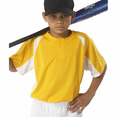 Badger Sport Youth T-Shirt: 100% Polyester Color Block Hook Placket (2938)