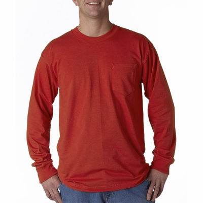 Bayside Men's T-Shirt: 100% Cotton Long-Sleeve Pocket (8100)