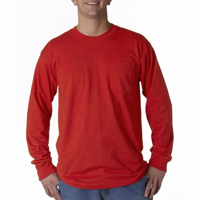 Bayside Men's T-Shirt: 100% Cotton Union Made Long-Sleeve Pocket (3055)