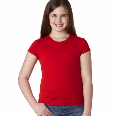 Bella Girl's T-Shirt: 100% Cotton Short-Sleeve Baby Rib Crew Neck (B9001)