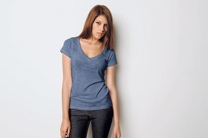 Bella Women's T-Shirt: 3.1 oz. Simone Burnout V-Neck (8605)