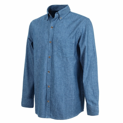 Charles River Men's Chambray Shirt: 100% Cotton Indigo-Dyed Pocket Button-Down (3327)