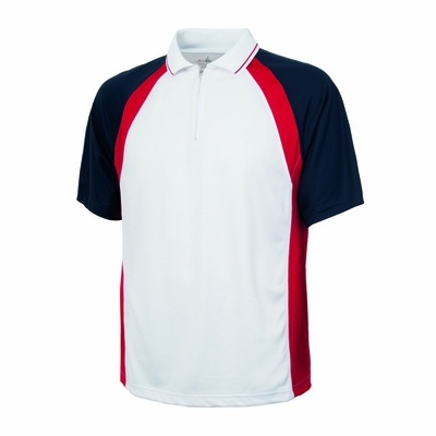 Charles River Men's Polo Shirt: 100% Polyester Pique Tri-Color Quarter-Zip (3426)