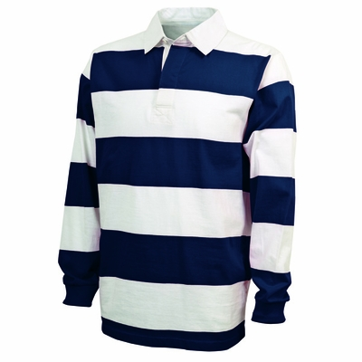 Charles River Men's Rugby Shirt: 100% Cotton Jersey Striped Long Sleeve (9278)