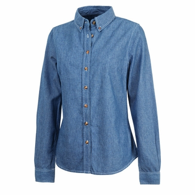 Charles River Women's Chambray Shirt: 100% Cotton Indigo-Dyed Contrast Stitch Button-Down (2327)