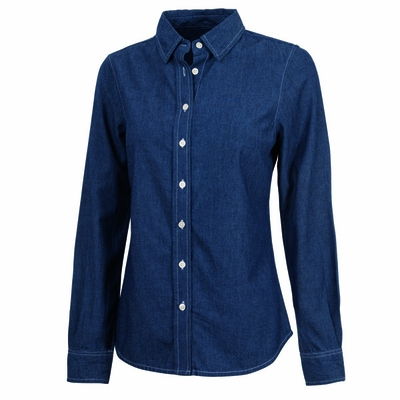 Charles River Women's Chambray Shirt: 100% Cotton Indigo-Dyed Contrast Stitch Button-Down (2329)
