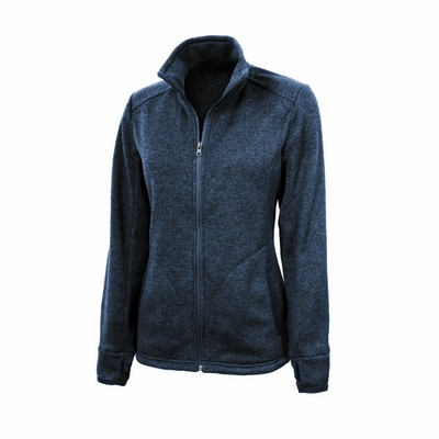 Charles River Women's Jacket-Fleece: Heathered Fleece Pocketed Quarter-Zip (5493)