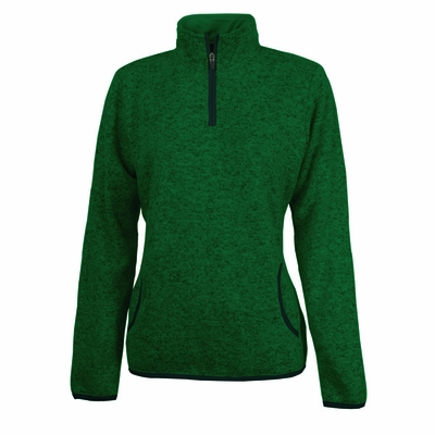 Charles River Women's Pullover Jacket: Heathered Fleece Pocketed Quarter-Zip (5312)