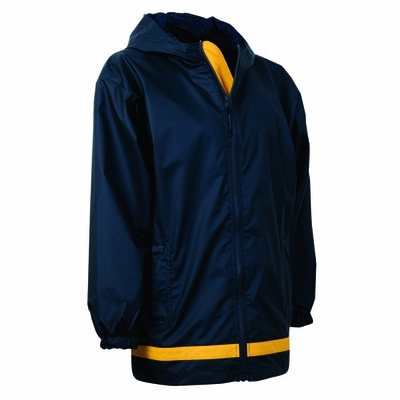 Charles River Youth Rain Jacket: Stripe Full-Zip Hooded (8099)