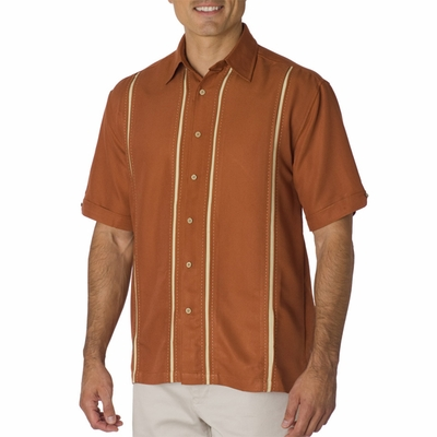 Cubavera Men's Casual Shirt: Diagonal Twill with Inset Panels (C06)