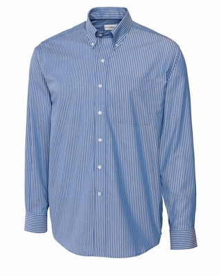 Cutter & Buck Big & Tall Men's Poplin Shirt: Epic Easy Care Pin Stripe Long Sleeve (BCW09185)