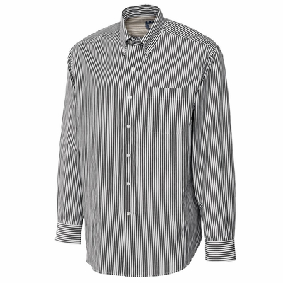 Cutter & Buck Big & Tall Men's Poplin Shirt: Bengal Stripe Pocketed Long Sleeve (BCW01743)