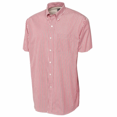 Cutter & Buck Big & Tall Men's Poplin Shirt: Bengal Stripe Pocketed Short Sleeve (BCW01791)