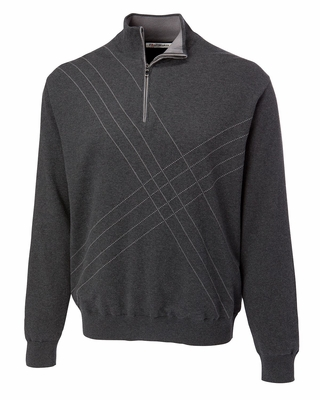 Cutter & Buck Men's Sweater: 100% Combed Cotton Half Zip Long Sleeve (MCS01850)