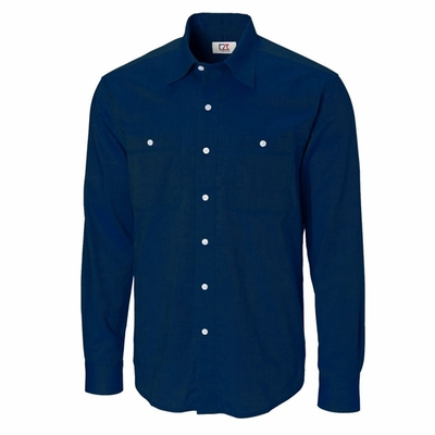 Cutter & Buck Men's Woven Shirt: 100% Cotton  Long Sleeve (MCW01799)