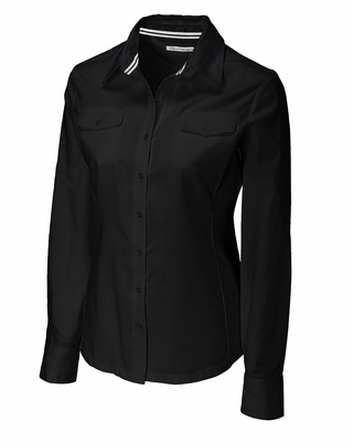 Cutter & Buck Plus Size Women's Woven Shirt: 100% Cotton Blakely Hybrid Long Sleeve (WCW04131)