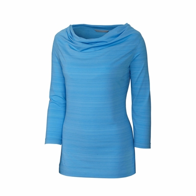 Cutter & Buck Women's Shirt: DryTec 3/4-Sleeve Highland Park Cowl (LCK02503)