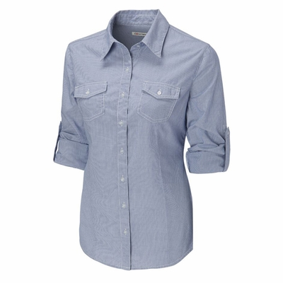 Cutter & Buck Women's Poplin Shirt: 100% Cotton Georgetown Stripe Rolled Sleeve (LCW04130)
