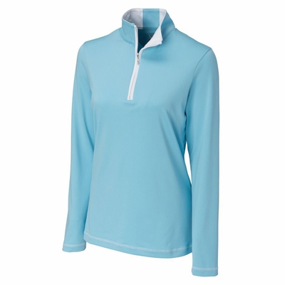 Cutter & Buck Women's Sweatshirt: 97% Polyester, 3% Spandex Half Zip Long Sleeve (LCK02367)