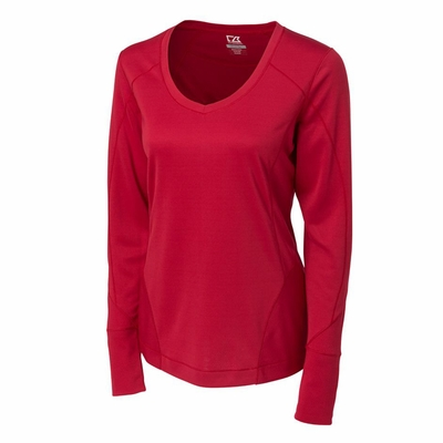 Cutter & Buck Women's T-Shirt: 100% Polyester Mogul Long Sleeve V-Neck (LCK02464)