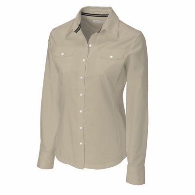 Cutter & Buck Women's Woven Shirt: 100% Cotton Blakely Hybrid Long Sleeve (LCW04131)