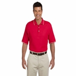 Devon & Jones Men's Polo Shirt: 100% Pima Cotton Pique Short-Sleeve Tipped (D113)