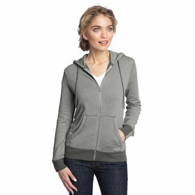 District Made Women's Sweatshirt: Two-Tone Mini Stripe Full-Zip Hoodie (DM490)