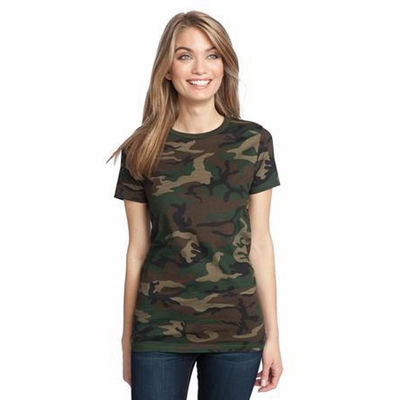 District Made Women's T-Shirt: Perfect Weight Camo Crewneck(DM104CL)