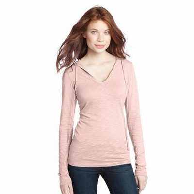 District Threads Women's Sweatshirt: 100% Cotton Junior Slub V-Neck Hoodie (DT241)